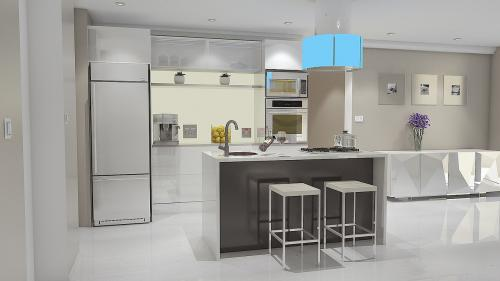 A kitchen designed and renovated with a modern look with a monotonic color approach.